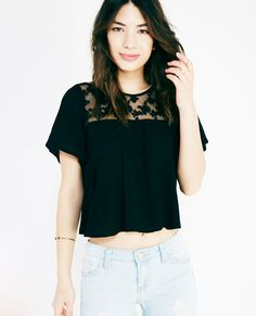 Flutter Sleeve Cropped Blouse With Lace Yoke | Wet Seal