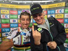 We are yellow...! Peter Sagan takes the stage win and the famous Maillot Jaune on the second stage of Le Tour de France.