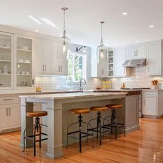 Kitchen Plans - Love gray island white cabinets marble white grey tops white tiled rectangle back. Farmer sink black rustic handles sink n white on drawers to match door handle pin...... Fridge hidden in cabinetry rest white blended in.