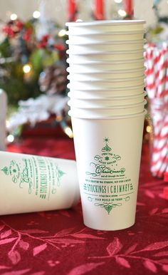 Personalized with choice of Christmas design and up to 4 lines of custom print on the front and back, these 16 ounce disposable paper Christmas party cups would be the star of the party on the hot cocoa or coffee table at your family or company Christmas party. These cups can be ordered at http://myweddingreceptionideas.com/16-oz-custom-printed-paper-christmas-party-cups.asp