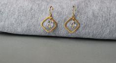 Clear Quartz Gemstones in Gold Vermeil Brushed Square Hoops Earrings