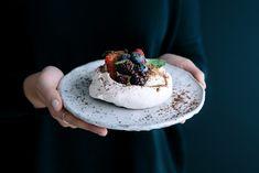 Meringues with Vanilla Mascarpone Cream, Passionfruit Curd, Berries & Fresh Mint | Gather & Feast