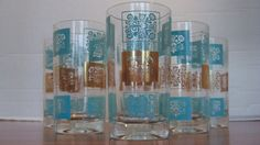 Vintage Aqua Turquoise and Gold Glasses by MarieWarrenArts on Etsy, $25.00