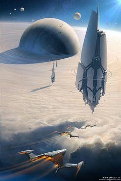 of Science Fiction Svyatoslav Gerasymchuk Concept Art Inspiration of Science Fictio Arte Sci Fi, Sci Fi Art, Digital Art Illustration, Sci Fi Environment, Futuristic City, Science Fiction Art, Sci Fi Fantasy, Space Fantasy, Dark Fantasy