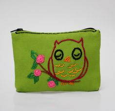 flowering owl green coin purse - hand embroidery on linen by NIARMENA on Etsy https://www.etsy.com/listing/129332639/flowering-owl-green-coin-purse-hand