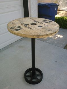 Pub Table, Bar Table, Recycled materials, Metal and Wood from a wire spool