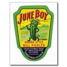Vintage Pickles Food Product Label Post Card #Postcards #Vintage #Food