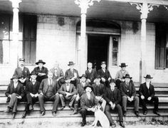 Florida Memory - Gadsden County officials on the courthouse steps - Quincy, Florida