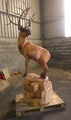 Chainsaw carved Reindeer by Andy Barton www.chainsawcarver.co.uk