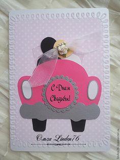 """Купить открытка""""Розовый кадиллак"""" - свадьба, свадебная открытка, подарок на свадьбу, для молодоженов, жених и невеста, картон"""