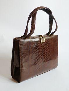 1940'S Leather LIZARD vintage  Bag 50S hand bag by DorisVintage, $375.00