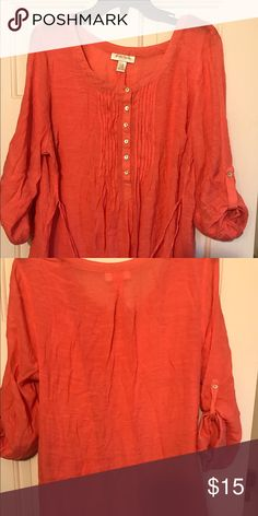 Coral Motherhood Maternity Top. Beautiful coral babydoll type shirt. The sleeve can be 3/4 quarter or long sleeve. Gently worn and very nice material. Motherhood Maternity Tops Blouses