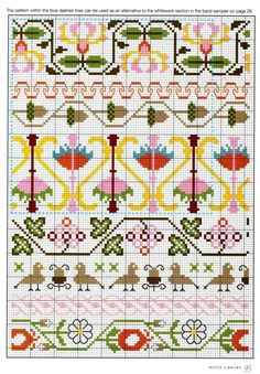 Borders narrow and wide. Birds, flowers, rope, acorns. Elizabethan Cross Stitch, by Barbara Hammett. Found online at http://chispitas.gallery.ru/watch?ph=bYUT-gMlFQ