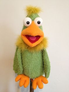 A PUPPET A DAY , little green bird  - Love the use of Terry Cloth for the feather body.
