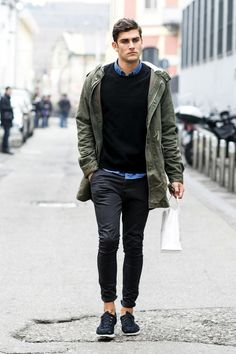 Jacket , blue button up , Black Sweater , Black Skinny Chinos , and black tennis shoes . Men's Fall , Winter
