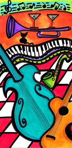 """Play My Favorite Song"" ~ by Dawn Collins. Great Painting almost like a Picasso! Music Images, Music Pictures, Musik Illustration, Music Artwork, Smooth Jazz, Painting Lessons, Music Notes, Pop Music, Musicals"