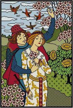 Lord and Lady Cross stitch pattern PDF Romance Illustration / Paul Berthone / Victorian Courtship