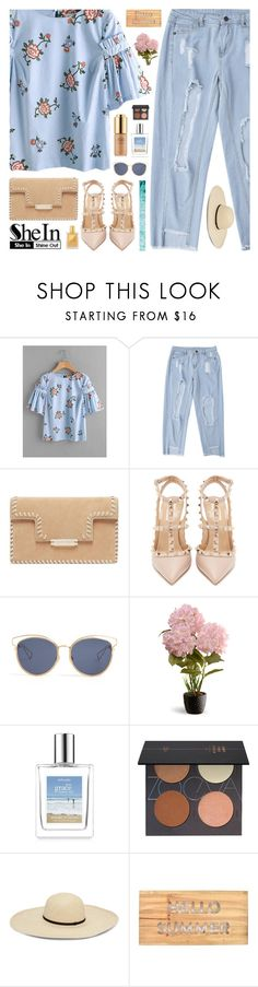 """summer contest shein"" by mllebond ❤ liked on Polyvore featuring Valentino, Christian Dior, National Tree Company, Estée Lauder, ZOEVA and Concepts in Time"