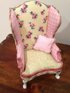 Shabby Chic Dolls House  Chair in 1/12th scale by maisonminis, $45.00