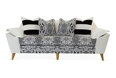 "Annelise 84"" Sofa, Cream/Chocolate on OneKingsLane.com"