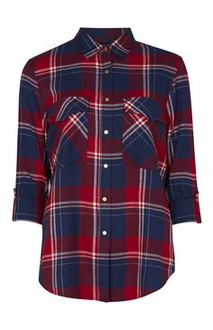 Red And Navy Oversized Check Shirt