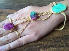 Multi Color Druzy Hathfool Gold Handflower Bracelet by FootSoles