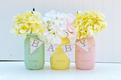 Baby Shower Decor - Baby Sprinkle Baby Shower Centerpiece - Pink, Yellow, Pistachio Mint, Baby Shower Decorations, Painted Mason Jars by BloomShoppe on Etsy Baby Shower Chevron, Deco Baby Shower, Baby Shower Yellow, Shower Bebe, Baby Shower Parties, Baby Shower Themes, Baby Boy Shower, Baby Shower Gifts, Shower Ideas