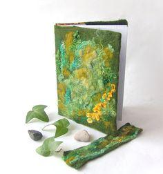 Felted journal notebook cover  Green moss autumn fall  by galafilc, $24.00