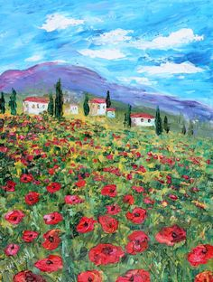 Landscape painting original oil Tuscany Poppies by Karensfineart