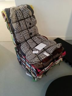 Rag Chair by Tejo Remy uses 15 layers of rags and comes ready made to the client. Later, owners can recycle and integrate their own clothing into the design. Paradoxically, the use of 'waste' materials now costs €3000+. Tejo Remy is one of many Dutch designers linked to the Droog group.