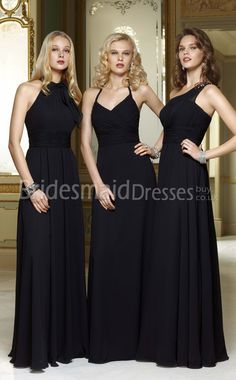 A-Line Black Chiffon One Shoulder Floor-length With Draping Bridesmaid Group Dresses(UKBD03-585)