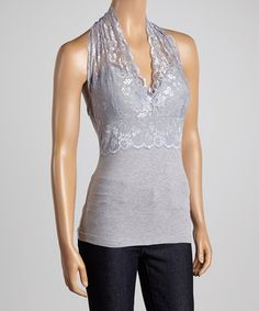 $8.99, can't beat that price!  Free shipping the rest of the day after you first order. Love this Heather Gray Lace Halter Top by Zenana on #zulily! #zulilyfinds