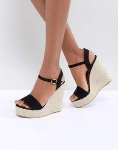 7e9ff898527 Glamorous Black Espadrille Wedge Sandals