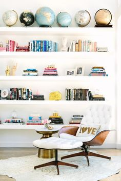 colorful, carefully curated bookshelves