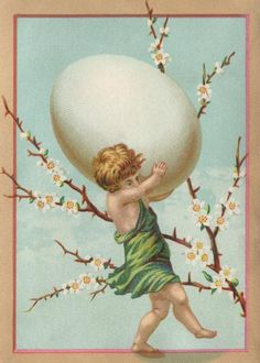 Vintage Easter Postcard of a Cherub Carrying an Egg - Click for printable picture