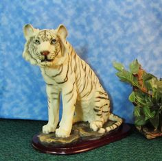 White Siberian tiger animal Figurine, Porcelain Bisque, Hand Painted, Glass Eyes, Realistic Tiger Figurine, For the Home, Home Decor by BeanzVintiques on Etsy