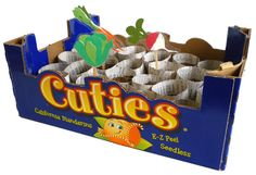Seedling starter tray made out of a cuties box...