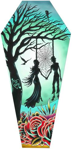 Love Til Death by Tyler Bredeweg Skeletons Coffin Canvas Art Print – moodswingsonthenet