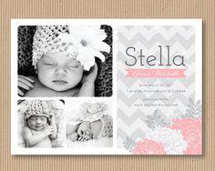 Baby Girl Birth Announcement Photo Card 5x7 by RoxterDesigns
