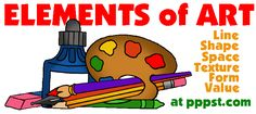 Elements of Art - line, shape, form, color, texture, space, value - FREE Presentations in PowerPoint format, Free Interactives & Games