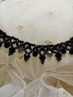 Perle de rocaille noir collier bijoux en perles noir perlé