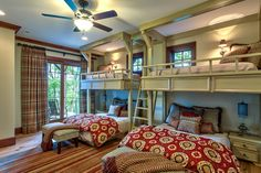Would kids be able to resist jumping from the top bunk? North Carolina mountain home. Glennwood Custom Builders.