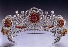Burmese Tiara of HM Queen Elizabeth II--The Burmese ruby tiara was ordered to be made by Gerrard's by the Queen in 1973. The design of the jewel is in the form of a wreath of roses, as the Roses of England (Lancaster and York).