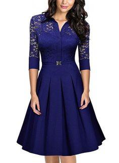 US Size Autumn Winter Ladies Elegant Lace Party Dress Suit Women Vintage Retro 3/4 Sleeve Casual Bodycon Dress Big Swing