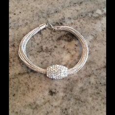 HOST PICKSTERLING AUSTRIAN CRYSTAL BRACELET Liquid Strands of Silver. Shambala Crystal Encrusted Barrel Bead. Jewelry Bracelets