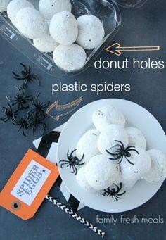 Fun Halloween Food Spider Egg Donuts Holes - Halloween Appetizer or Breakfast - FamilyFreshMeals.com