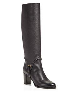 Salvatore Ferragamo Flavius Tall Block Heel Boots $1,150