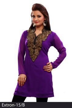 New Purple 60 grams Chiffon Georgette Embroidered Kurti - Chiffon Kurtis / Tunics Manufacturer & Exporter   Kurtisindia