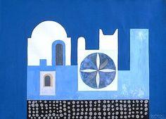 Oia, Santorini, 1979 Greece Painting, Oia Santorini, Painting Gallery, Artist Painting, Modern Art, Abstract, Cubes, Inspiration, Paintings