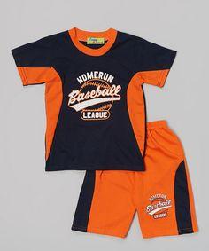 Navy  orange baseball tee  shorts on Zulily.